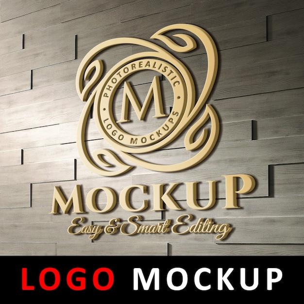 Logo maquette - logo 3d en or sur le mur de briques PSD Premium