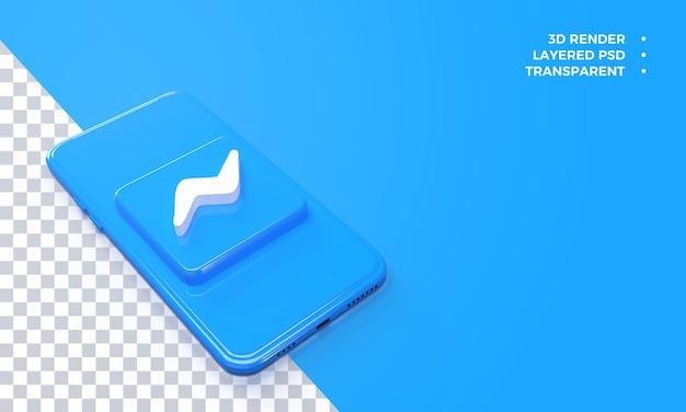 Logo De Messagerie 3d Au-dessus Du Rendu De Smartphone PSD Premium