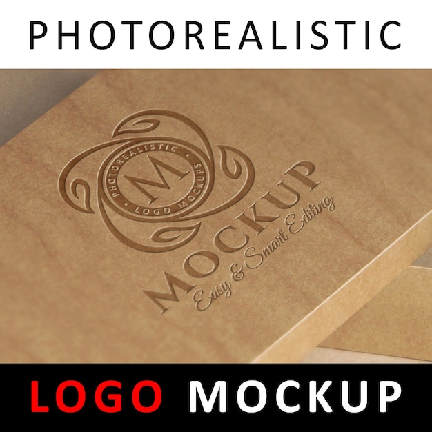 Logo mock up - logo gravé sur boîte kraft PSD Premium