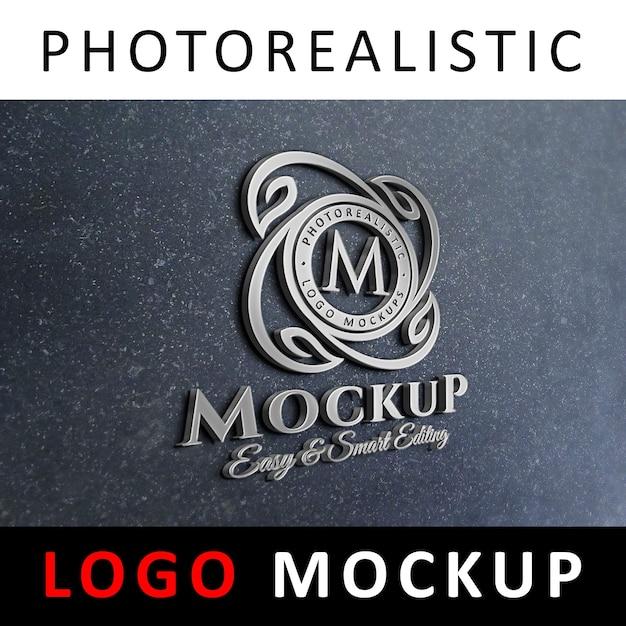 Logo mock-up - signalisation du logo 3d sur le mur du bureau PSD Premium