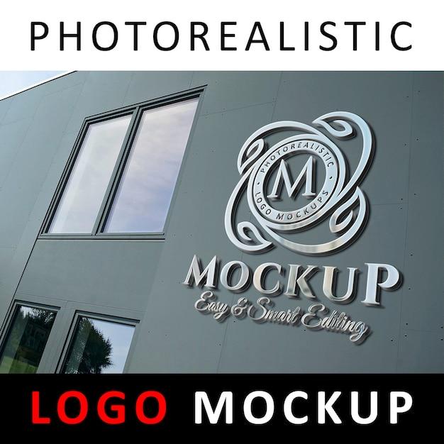 Logo mockup - affichage de logo 3d en chrome métallique sur le mur de façade 2 de la société PSD Premium