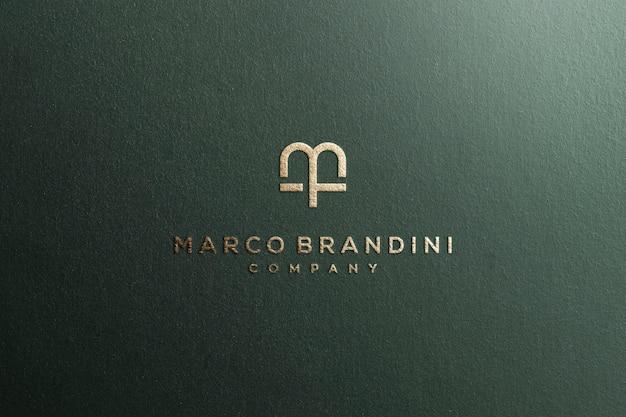 Logo Mockup Textured Luxury Gold PSD Premium
