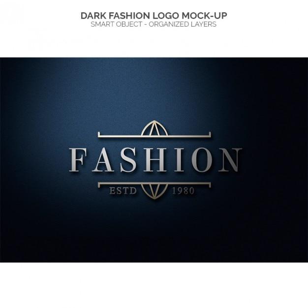 Logo de la mode sombre maquette Psd gratuit