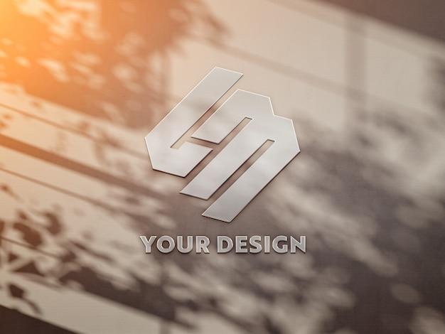 Logo Sur Le Mur Baigné De Lumière Du Soleil PSD Premium