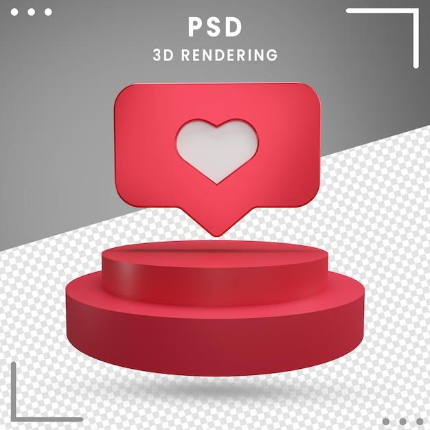 Logo De Rotation 3d Rouge Amour Instagram PSD Premium