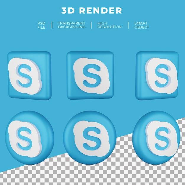 Logo Skype De Rendu 3d Isolé PSD Premium