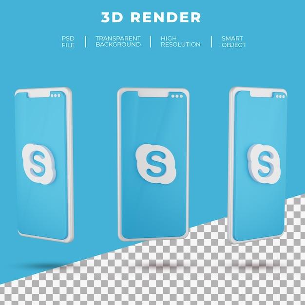 Logo Skype De Rendu 3d De Smartphone Isolé PSD Premium