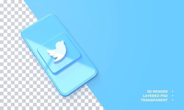 Logo Twitter 3d Au-dessus Du Rendu Du Smartphone PSD Premium