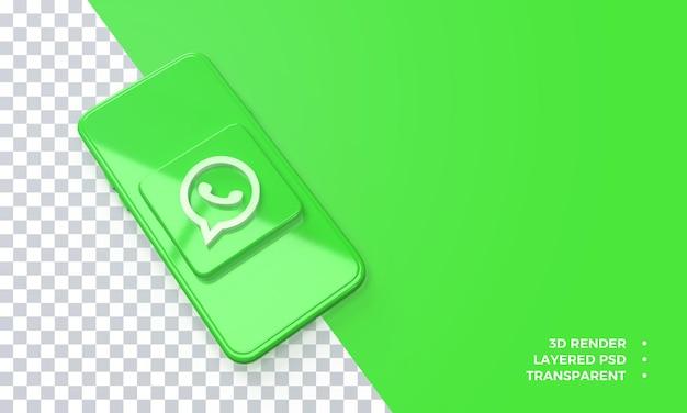 Logo Whatsapp 3d Au-dessus Du Rendu De Smartphone PSD Premium