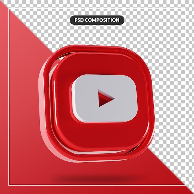 Logo Youtube Brillant Design 3d Isolé PSD Premium
