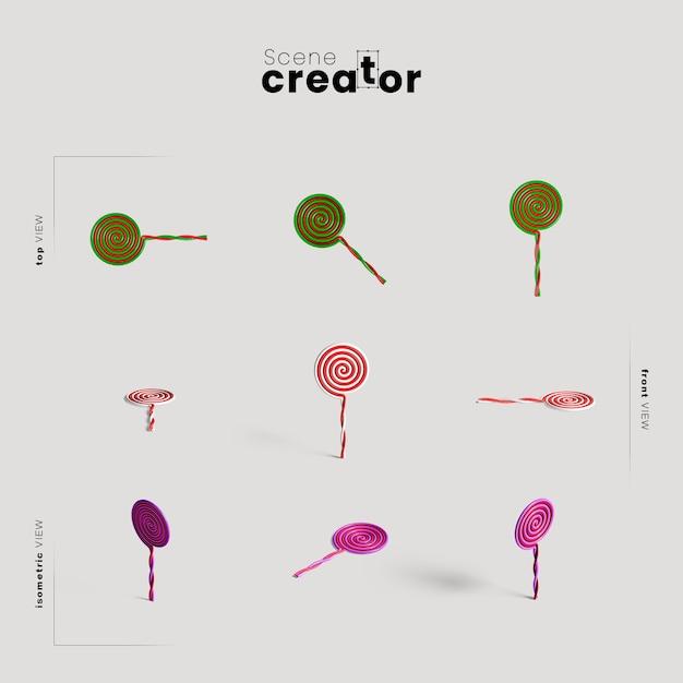 Lollipops variété d'angles créateur de scènes d'halloween Psd gratuit