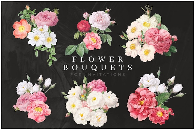 Lot de bouquet de fleurs colorées PSD Premium