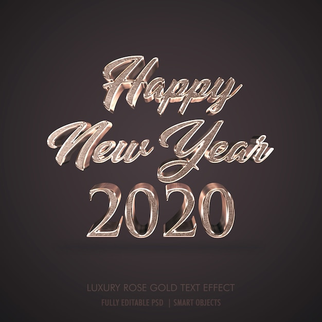 Luxe 3d happy new year 2020, effet de texte en métal or rose PSD Premium