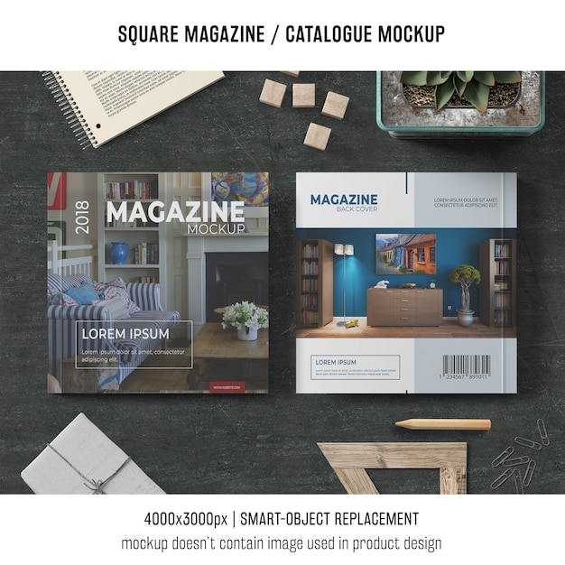Magazine carré ou maquette avec différents objets Psd gratuit