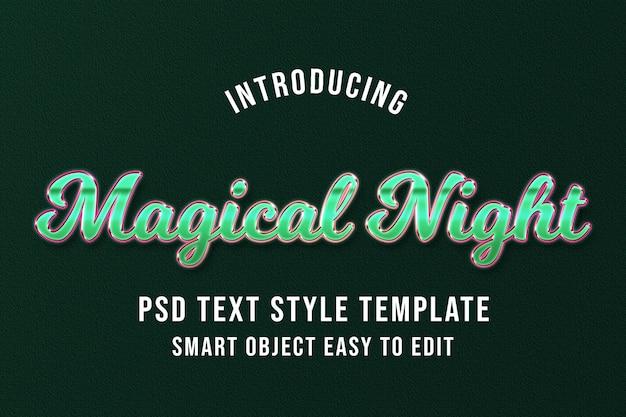 Magical night - modèle d'effet de texte psd de luxe vert PSD Premium