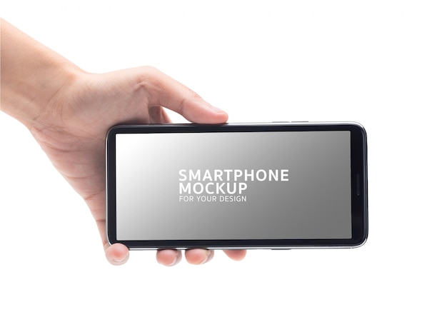 Main de femme tenant la maquette du smartphone noir pour votre conception. PSD Premium