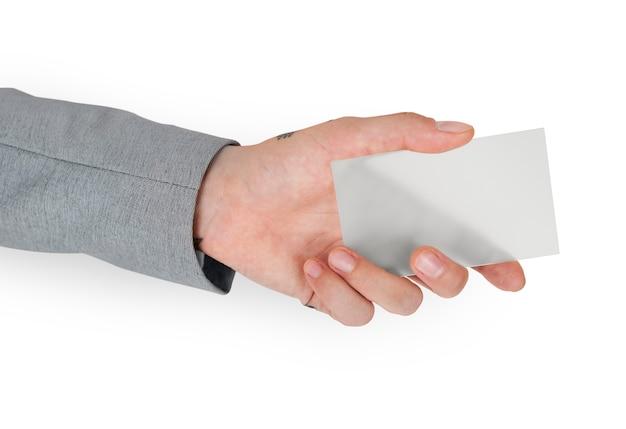 Main tenant une carte de visite vierge Psd gratuit