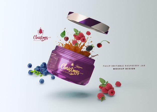 Maquette 3d Une Portion De Pot De Nourriture En Verre De Miel Pour La Présentation Du Produit PSD Premium