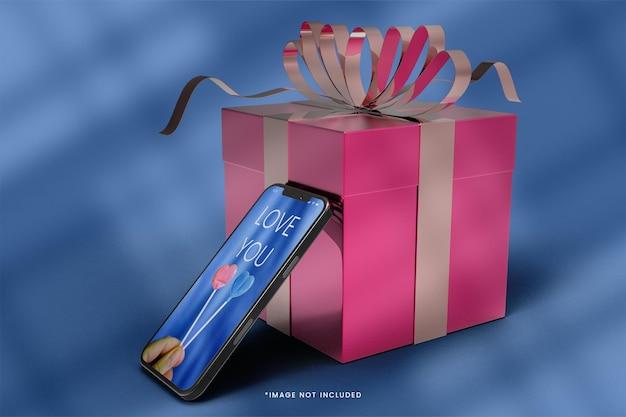 Maquette 3d De Smartphone Et De Boîte-cadeau PSD Premium