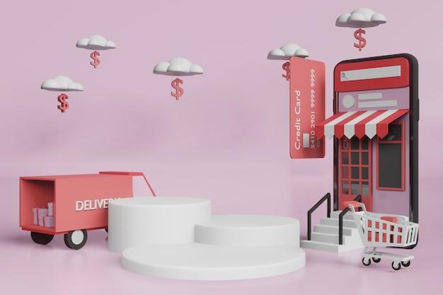 Maquette D'affichage De La Scène De Rendu 3d Pour Le Créateur De Scène PSD Premium