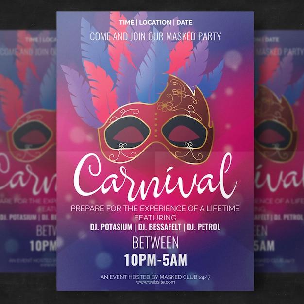 Maquette d'affiche de carnaval élégant avec masque réaliste PSD Premium