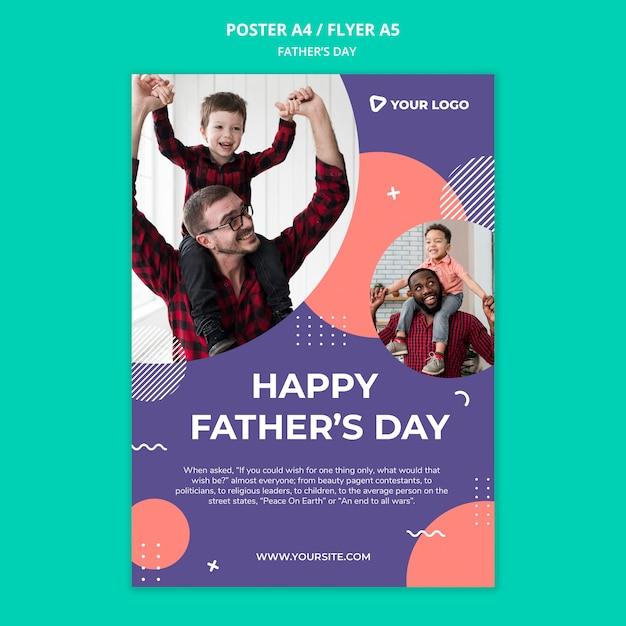 Maquette D'affiche De Concept De Fête Des Pères Heureux Psd gratuit