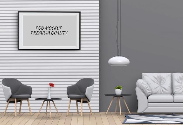 Maquette affiche dans le salon intérieur et une chaise, rendu 3d PSD Premium