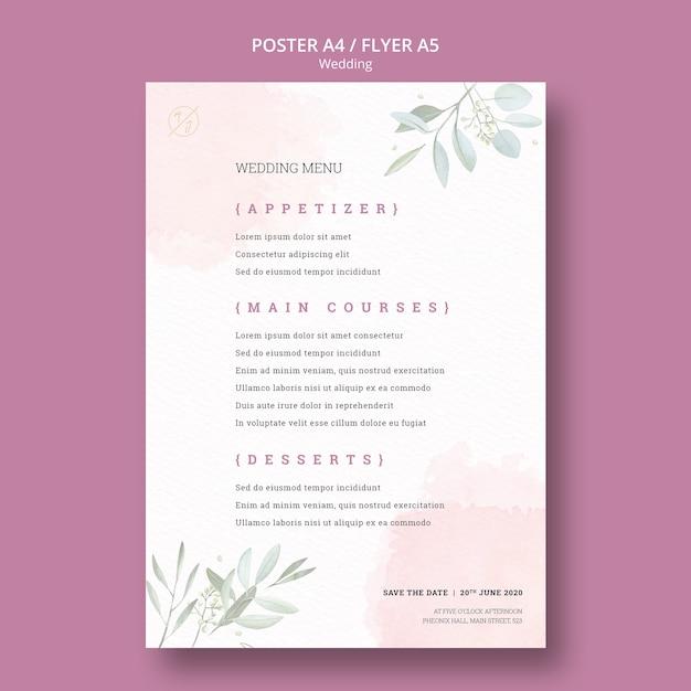 Maquette d'affiche de menu de mariage magnifique Psd gratuit
