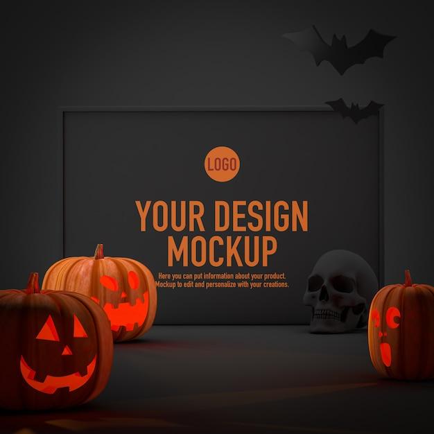 Maquette D'affiche Pour Halloween à Côté De Quelques Citrouilles Et Chauves-souris PSD Premium