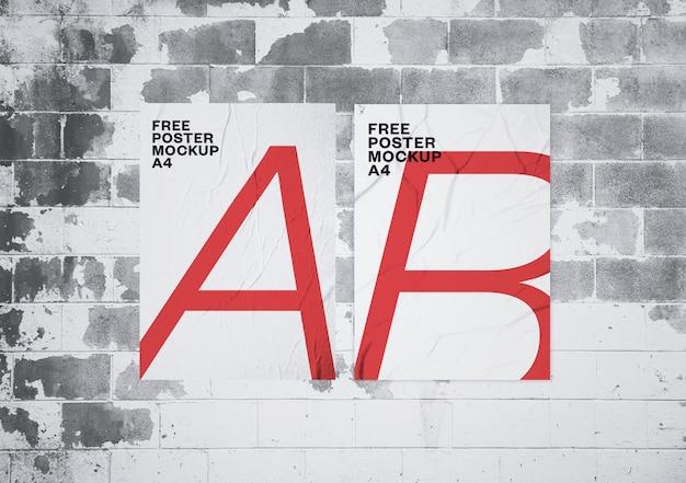 Maquette D'affiches Collées Psd gratuit