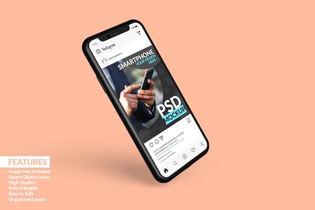 Maquette D'appareil Numérique De Smartphone Flottant Pour Afficher Le Modèle De Publication Instagram Premium PSD Premium