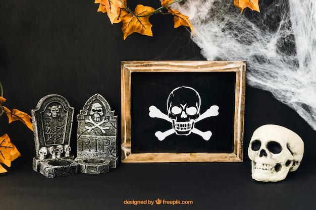 Maquette D'ardoise Halloween Décorative Psd gratuit