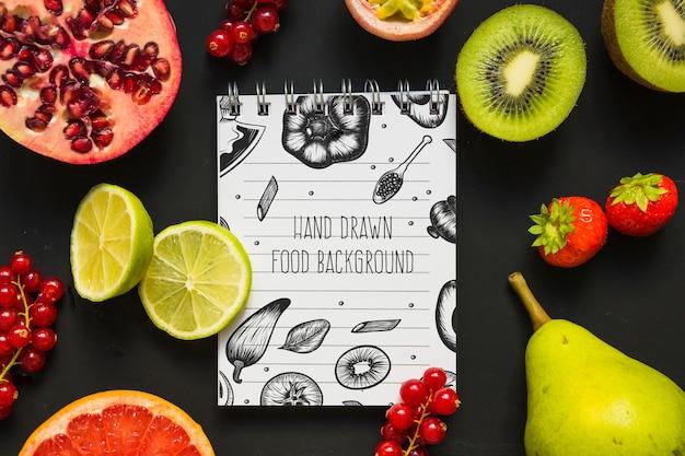 Maquette de bloc-notes avec concept d'aliments sains Psd gratuit