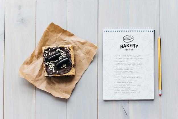 Maquette de bloc-notes avec concept de cuisine et de recette Psd gratuit