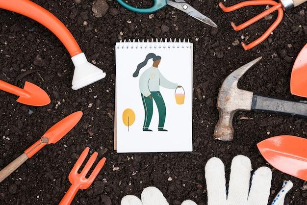 Maquette bloc-notes avec concept de jardinage Psd gratuit