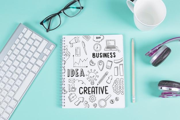 Maquette de bloc-notes créative Psd gratuit