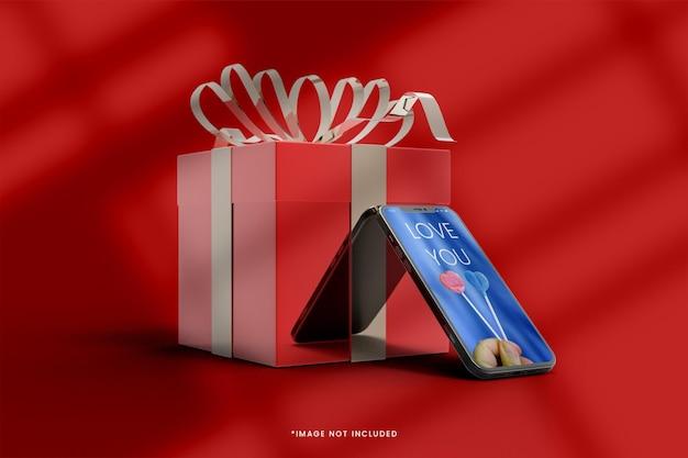 Maquette De Boîte Cadeau 3d Rose Avec Smartphone PSD Premium