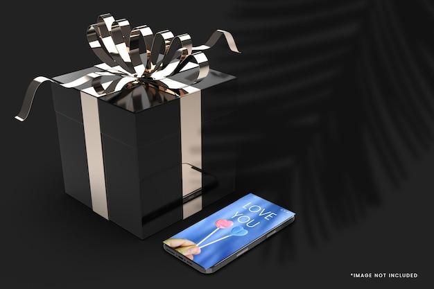 Maquette De Boîte-cadeau De Luxe De Couleur Noire Avec Smartphone PSD Premium