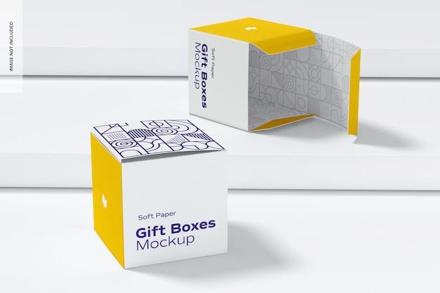 Maquette De Boîtes-cadeaux En Papier Souple, Perspective PSD Premium