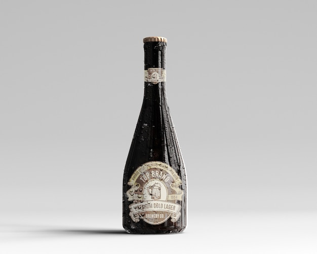 Maquette De Bouteille De Bière En Verre Ambré Avec Gouttes D'eau - Vue De Face PSD Premium