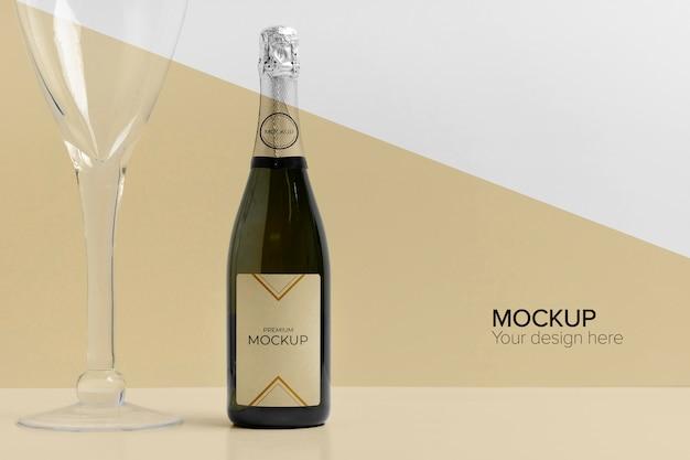 Maquette De Bouteille De Champagne Et Coupe De Champagne PSD Premium