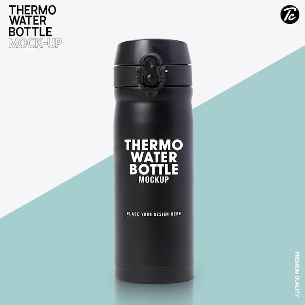 Maquette De Bouteille D'eau Thermo En Acier Noir PSD Premium