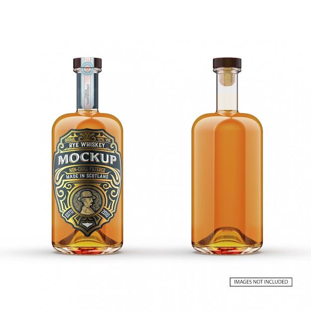 Maquette De Bouteille En Verre De Whisky Avant Et Arrière PSD Premium