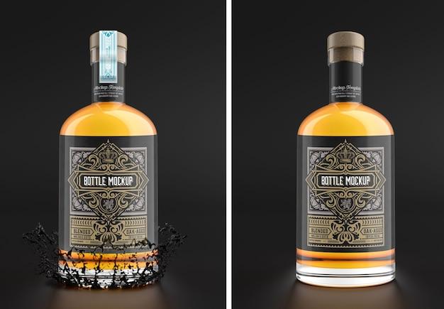 Maquette De Bouteille En Verre De Whisky Isolé PSD Premium