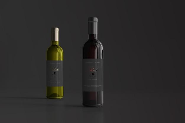 Maquette De Bouteille De Vin Rouge Et Blanc PSD Premium