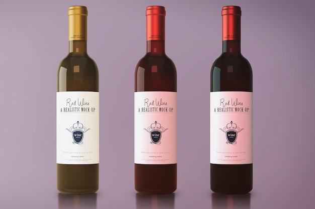 Maquette de bouteille de vin rouge PSD Premium