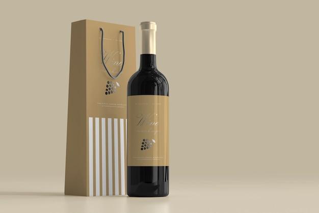Maquette De Bouteille De Vin Avec Sac Psd gratuit