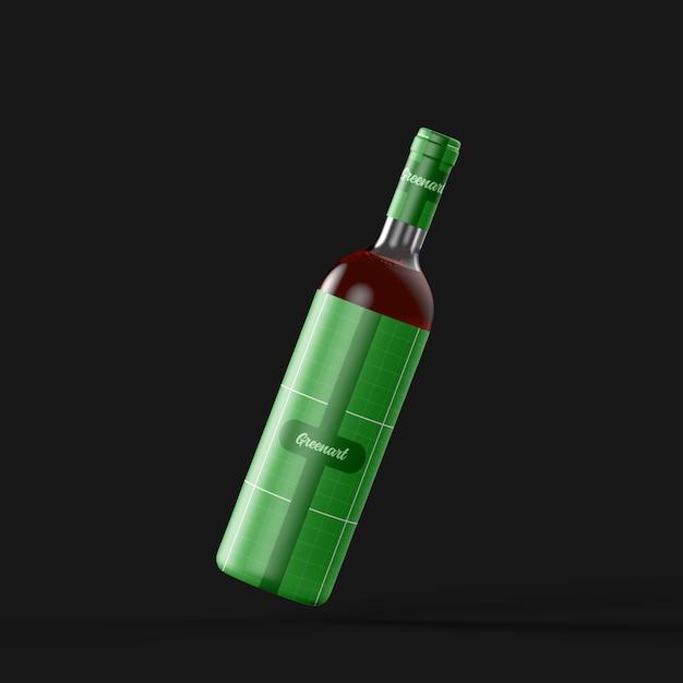 Maquette de bouteille de vin en verre clair PSD Premium