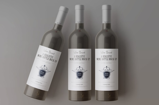 Maquette de bouteilles de vin PSD Premium