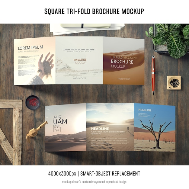 Maquette de brochure carrée à trois volets Psd gratuit